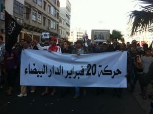 Protesty v Maroku. Autorem snímku je Magharebia.