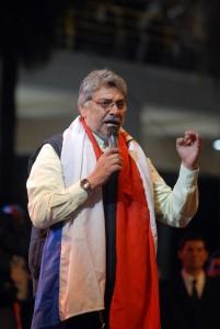 Prezident Fernando Lugo během své volební kampaně v roce 2008. autorem snímku je Antonio Cruz.